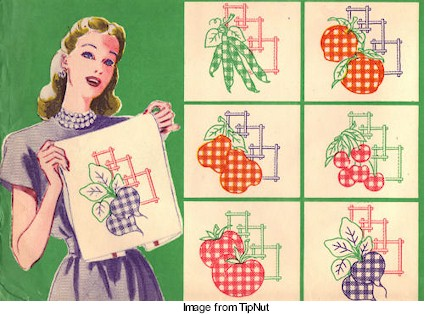 Free Hand Embroidery Patterns Gingham Fruit And Veggies Needle Work